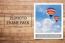 25 Photo Frame Mockups on wood