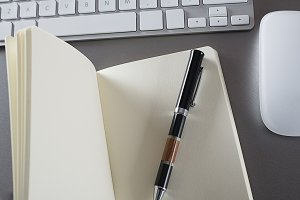 Notebook with keyboard and mouse