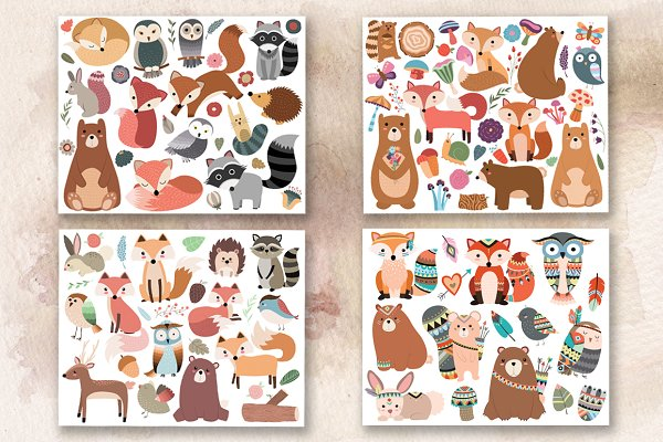 110 pc Huge Woodland Clipart Set