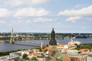 Riga skyline in sunny day