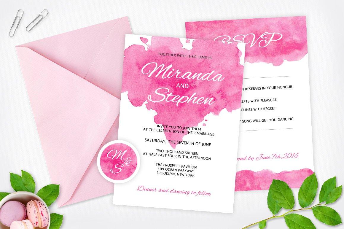 watercolor wedding invitation pack invitation templates creative market