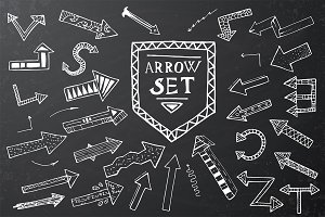 Hand drawn arrow icons set on black