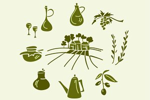 Doodle olive oil vector set