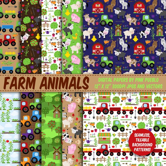Farm Animal Papers & Backgrounds