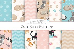 Cute Cat Digital Paper Patterns