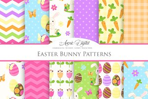 Easter Bunny Digital Paper Patterns