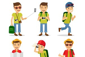 Tourist travel character vector