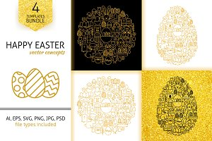 Happy Easter Gold Line Concepts