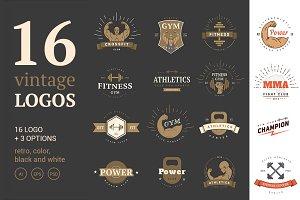 16 Vintage Sport Logos. Emblems Set.