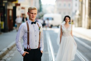 bride and groom on the street