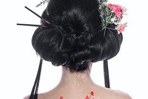 Geisha from back. Figure cherry
