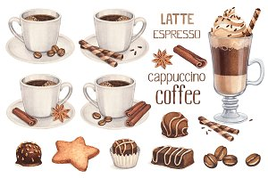 Illustrations of coffee and sweets