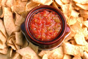Salsa Surrounded by Corn Chips