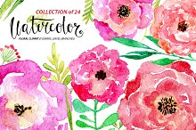 Watercolor flower set, 24 elements