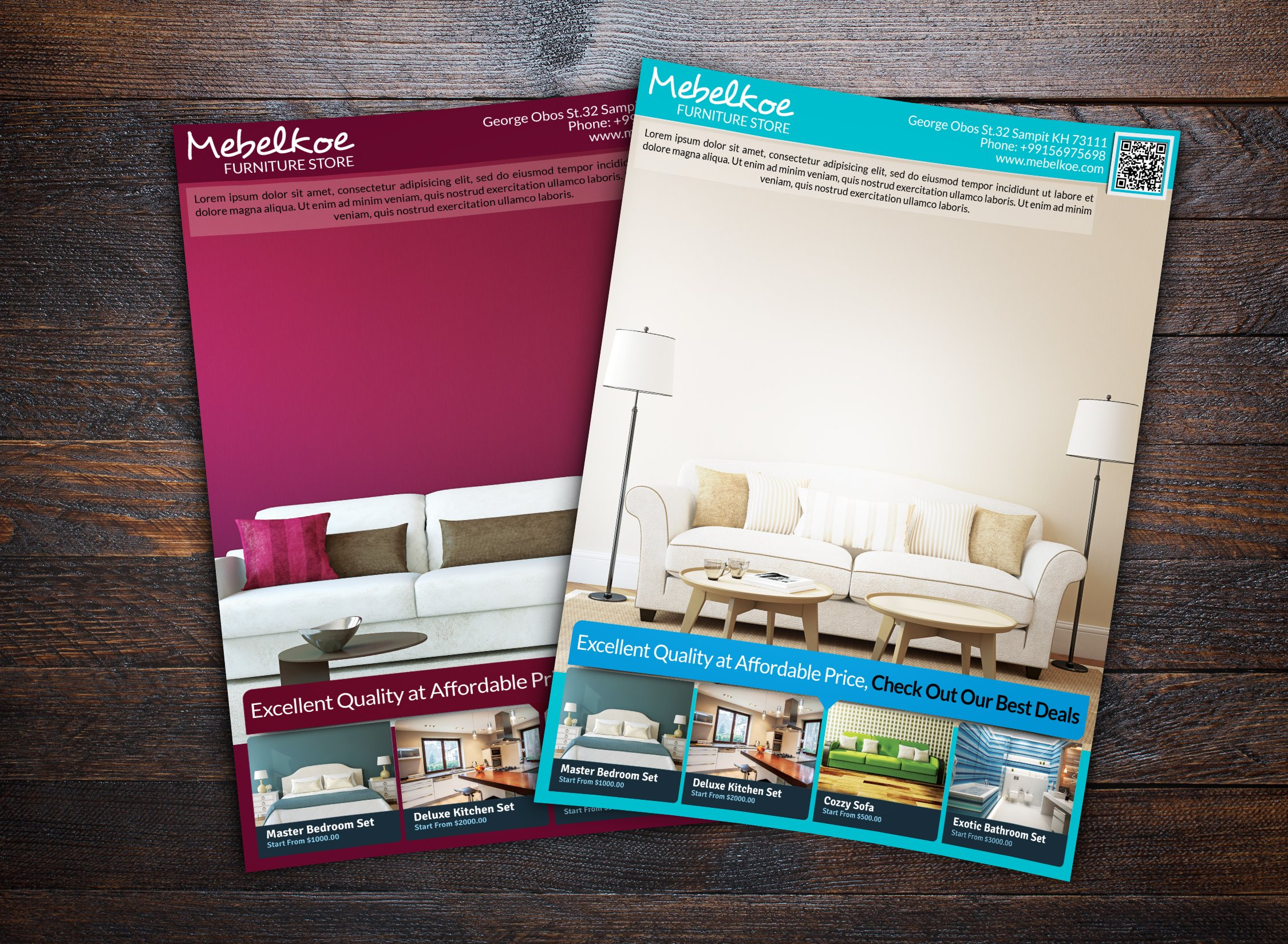 Furniture and interior store flyer templates creative for P s furniture flyer