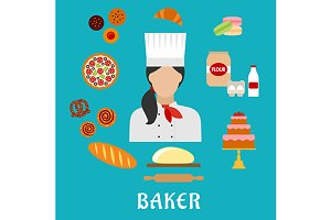 Baker profession flat icons