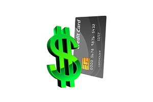Credit card with glossy dollar