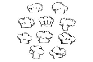 Chef, cook or baker hats and toques