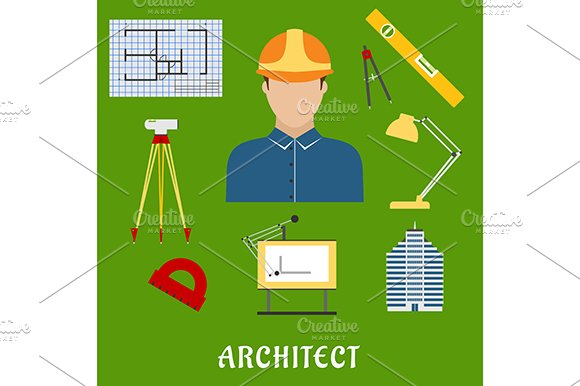 Architect profession with flat icons