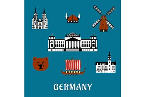German travel icons