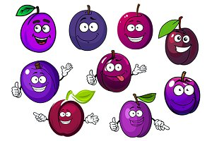 Cartoon fresh purple plum fruits