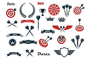 Darts game items and elements