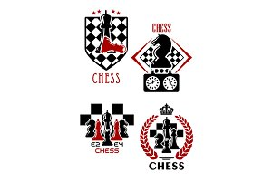 Chess game icons with chessmen