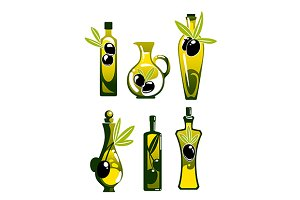 Olive oil in bottles and jug