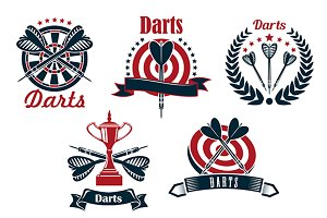 Darts game symbols and icons