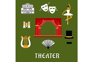 Theater and art flat icons