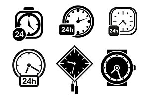 Wall clocks, watch and alarm icons