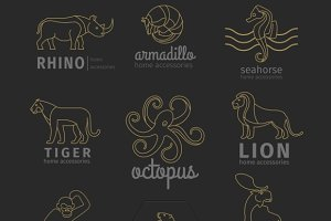 Animals logo set