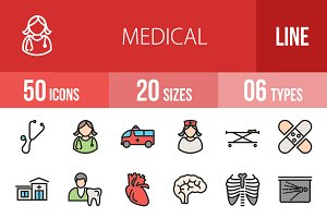 50 Medical Line Filled Icons