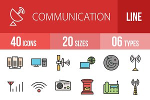 40 Communication Line Filled Icons