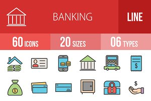 60 Banking Line Filled Icons