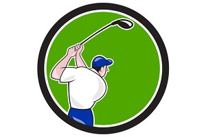 Golfer Swinging Club Circle Cartoon