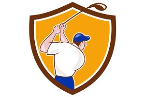 Golfer Swinging Club Crest Cartoon