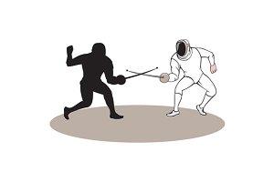 Swordsmen Fencing Isolated Cartoon