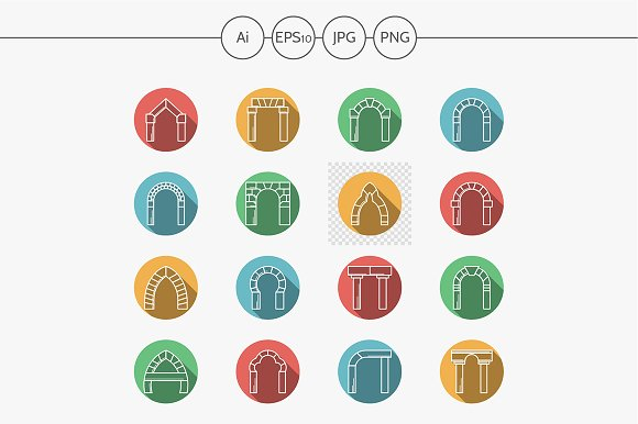 Arch and archway round vector icons