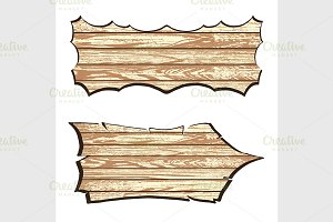 Set of wooden planks