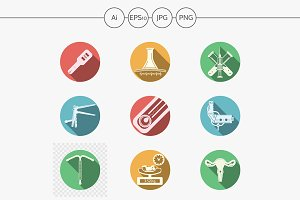 Gynecology round vector icons. Set 2