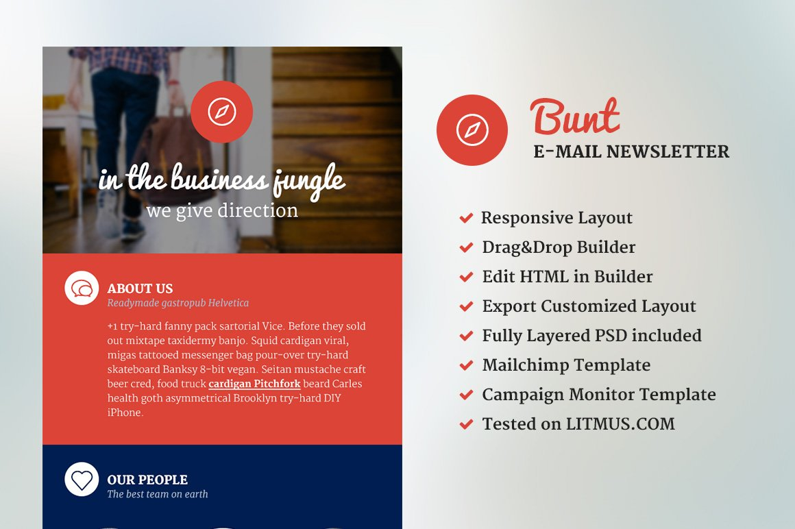 Bunt Corporate Email Template Email Templates Creative Market - Drag and drop mailchimp templates
