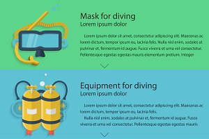 Diving equipment vector flat style