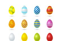 Set of colourful easter eggs