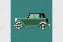 Vintage car. Isolated on green