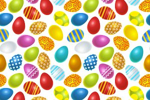 Easter eggs on white pattern