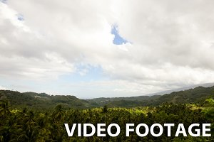 Panoramic views of jungle mountains