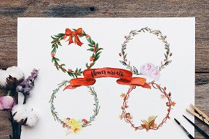 Flower Wreath and Floral Elements