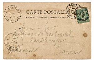 Vintage handwritten postcard