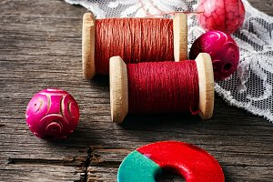 Beads and spool of thread
